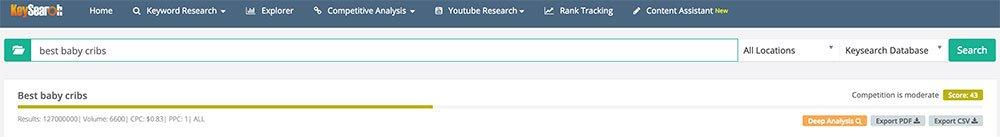 Screenshot of Keysearch Dashboard