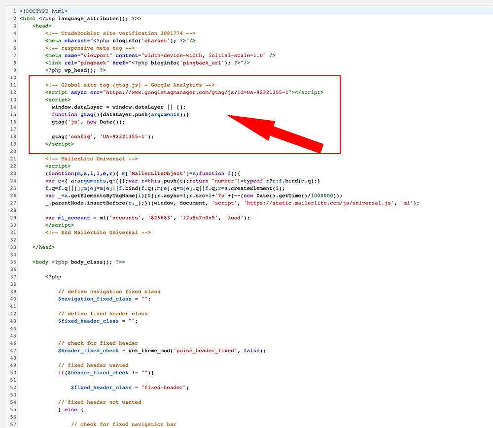 screenshot of wordpress code