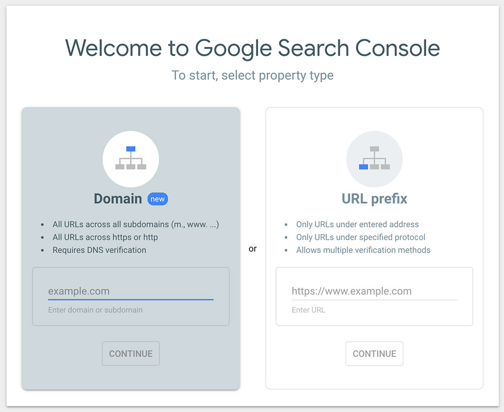 screenshot of Google Search Console Sign Up