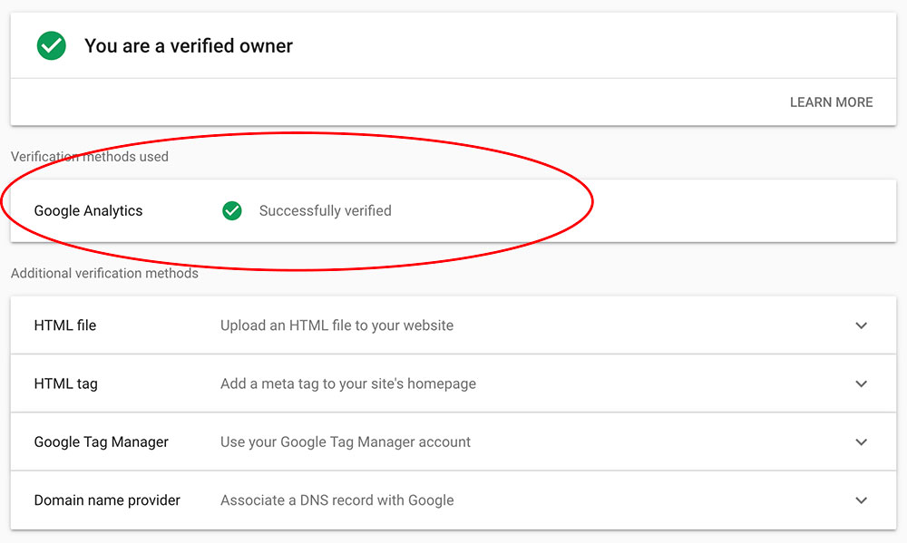 screenshot of verification options for Google Search Console