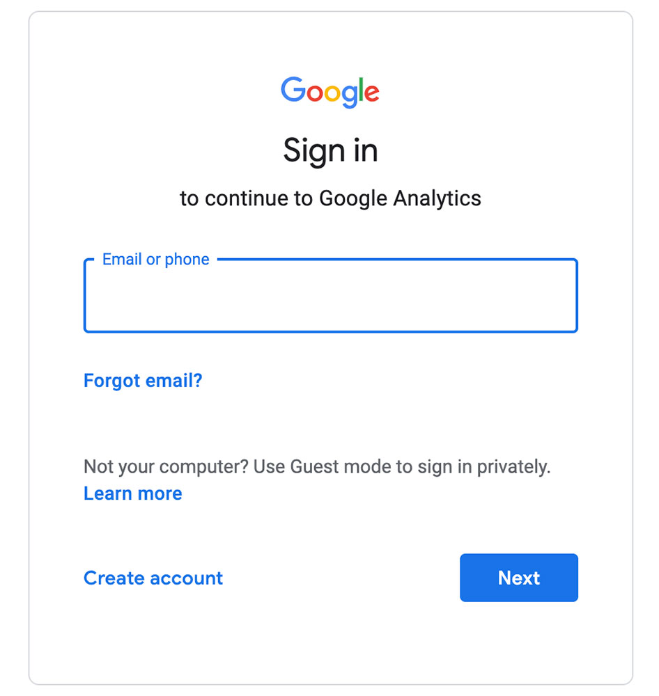 screenshot of google analytics sign up form