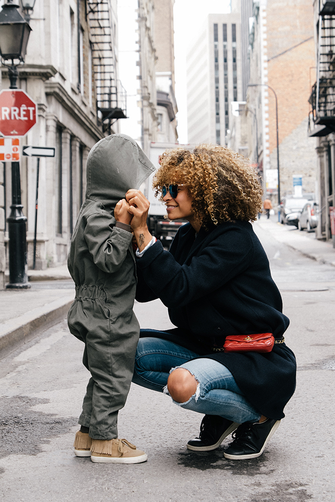 Mom and child in the street