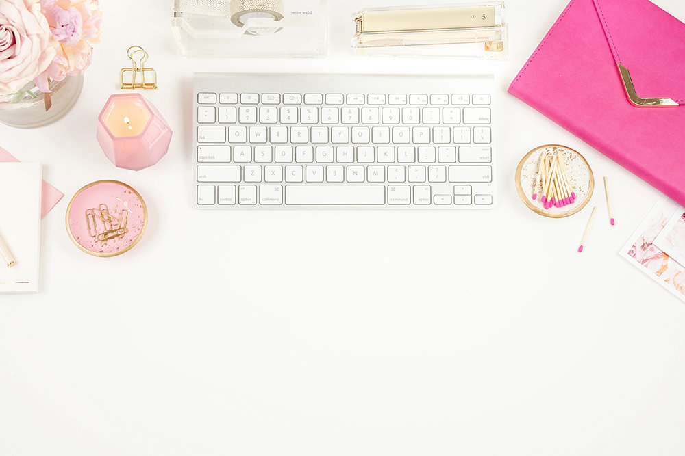 Feminine desktop flatlay