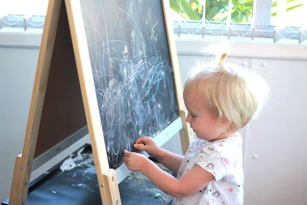 toddler activity drawing on chalkboard