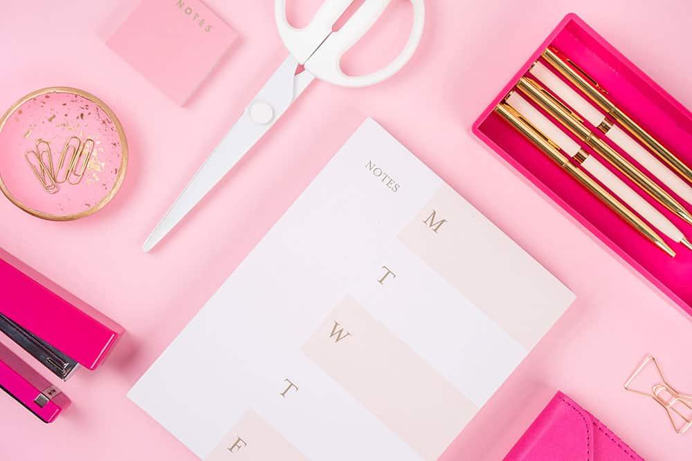 pink stationary set