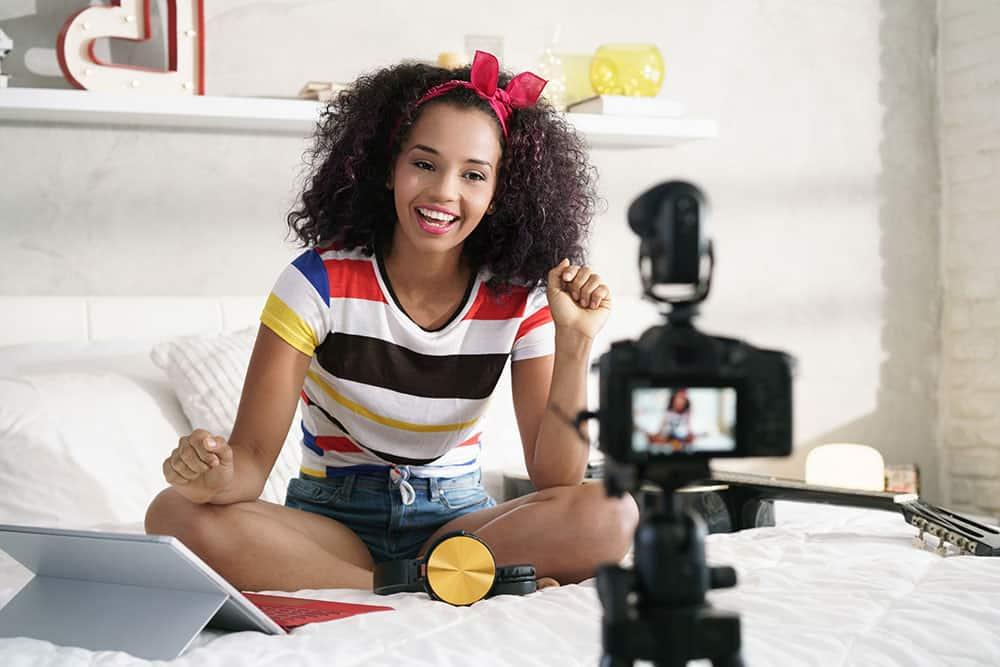 vlogger filming for youtube
