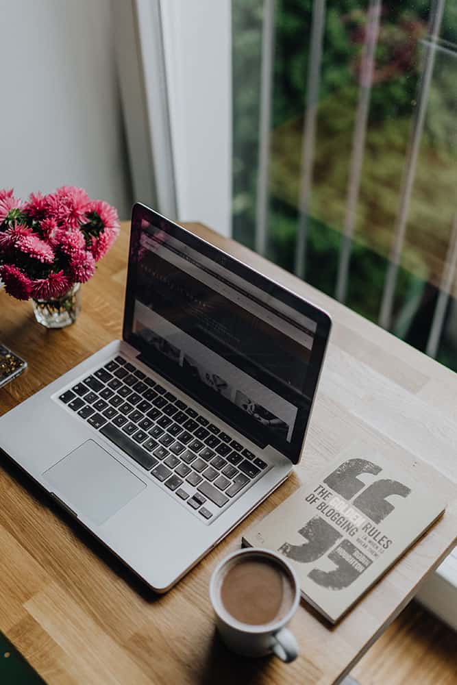 blogger's laptop working on viral post