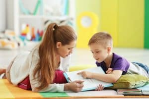 mom doing the benefits of homeschooling with child