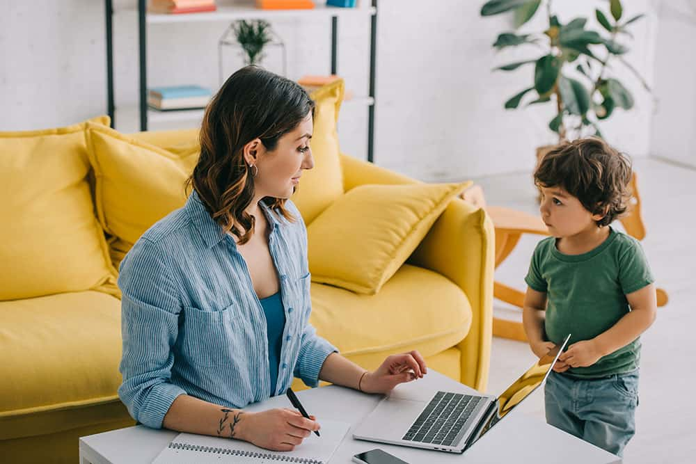 mom working from home with no childcare