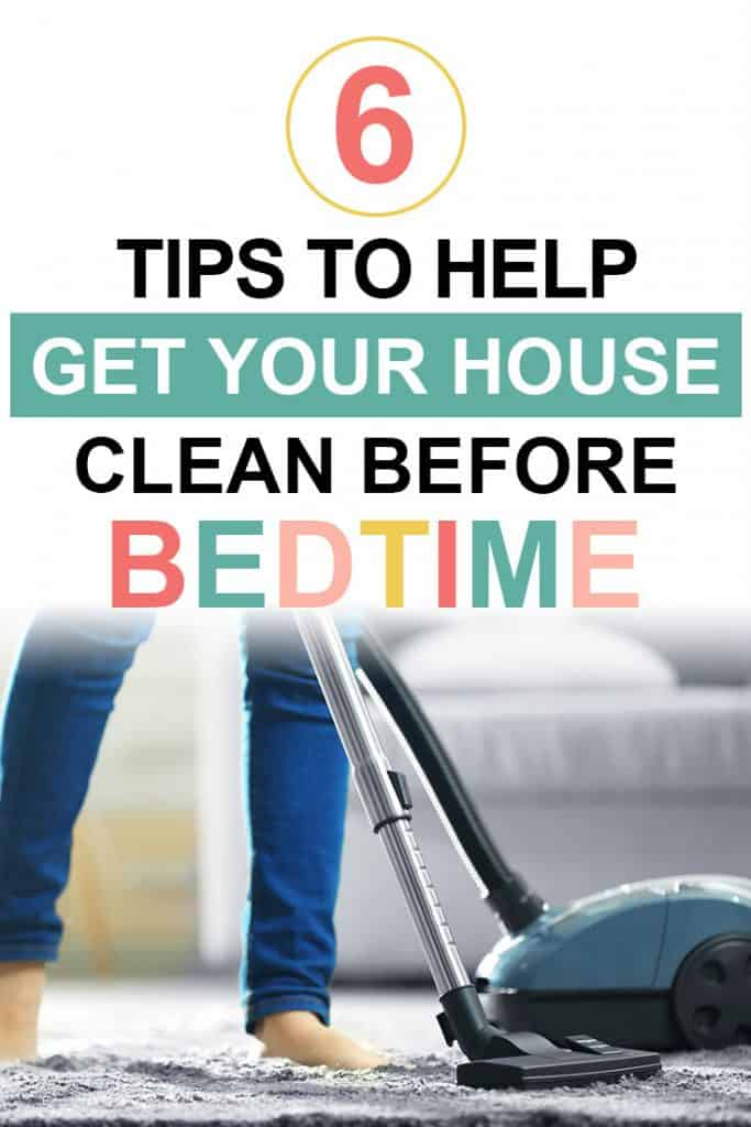 Pinterest image about going to bed with a clean house