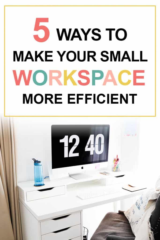 Pinterest image about a small workspace